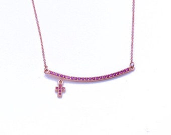 Gold K9 Bar  Necklace with cross, Pink  Cubic Zirconia, Rose gold 9K