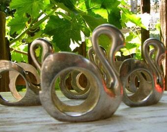 Adorable Silver Swan Napkin Rings