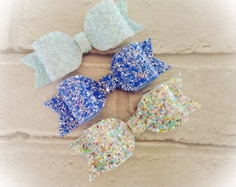 Glitter hair bows - true blue collection