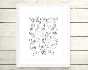 Animal Alphabet Print, Nursery Art Poster, Baby Animal Sketch, Pencil Drawing, Grey Alphabet, Gender Neutral Baby, Baby Wall Decor, Poster