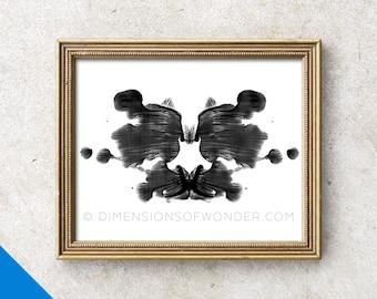 Rorschach PRINT, Rorschach ink blot, Rorschach art, psychology art, psychologist gift, psychology student, psychology poster, black, white.