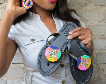 Fifi African beaded Earrings and Sandals