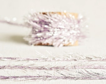 Tinsel Twine in Lavender & Silver - 6 Yards - Light Baby Purple Ribbon Metallic Garland Pretty Packaging Gift Wrapping Wedding Party Decor