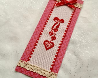 Bookmark embroidered hearts