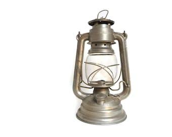 Vintage Kerosene Lamp - Kerosene Lantern - Luna N. 100 Railroad Lantern, Aluminum Silver, Made in Yugoslavia - 1950s