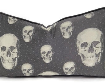 Charcoal & Gray Woven Skull Pattern Lumbar Throw Pillow Cover, 12x21.5