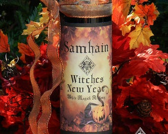 Witches New Year Glass Vigil Candle . Samhain, Halloween, Witches New Year