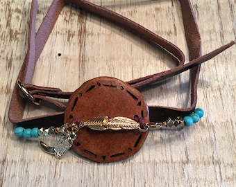 Gourd Wrap Bracelet with Feather
