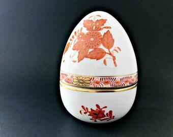 Hand painted Porcelain Egg Box Herend Easter Egg Bonbon Trinket Box
