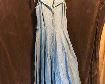 D. Frank size 8 sleeveless denim dress skirt hippie boho supercute
