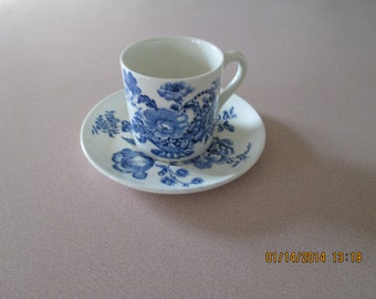 Vintage Charlatte Royal Crownford Demitasse Cup and Saucer, Blue and White Jacobean Flower Basket