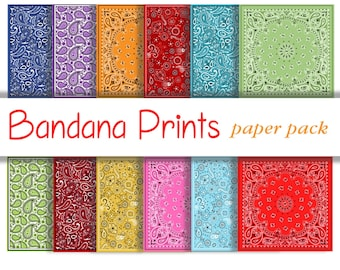 BANDANA PRINT PAPERS - printable patterned paper backgrounds for crafts, photography, Wallpaper, cowboy, Party, birthday- 12 Papers