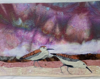 Wall Hanging Art Quilt Beach 2 Sandpipers at Sunset Hand Dyed Fabric Lavender and Purple Sky