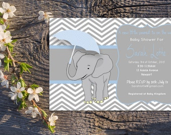 Printable Elephant Baby Shower Invitation - blue grey chevron, custom