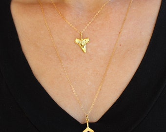 Whale Tail Necklace Gold, Summer Beach Charms Layering Necklaces 18K Gold
