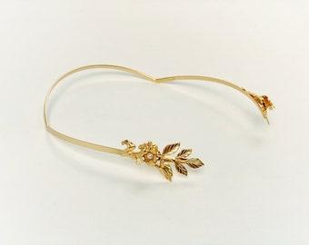 Orion Floral feuilles d'or déesse Greciang feuille casque, couronne de mariage, asymétrique, grec Couronne, Boho Chic postiche, couronne de fleurs délicates