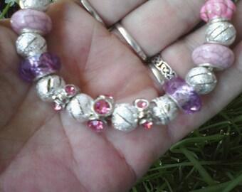 Sparkling champagne pink, Euro style bracelet