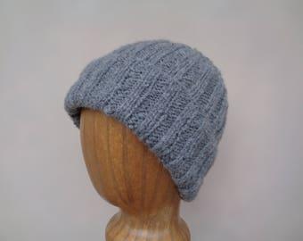 Gray Hat, Handspun Cashmere, Hand Knit, Luxury Natural Fiber, Gift for Him Her, Beanie Watch Cap, Lightweight Hat