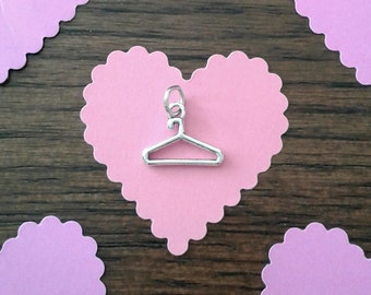 SALE - Sterling Silver Clothes Hanger Charm - 11 x 9 mm