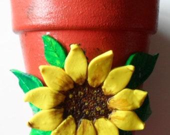 Sunflower Pot Sunflower Flower Pot Clay Sunflower and Leaves Flower Pot Clay Pots Clay Flower Pot