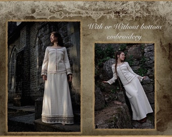 Medieval Magic Cream cotton Long dress  with Embroidery and long sleeve Boho Victorian Natural