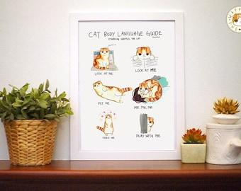 Corps Guide de langue de chat: Funny Cat Print