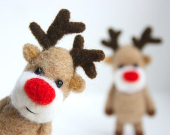 Felted Rudolph the red nosed reindeer