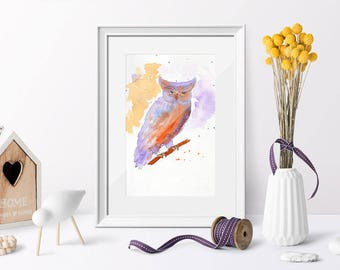 Hand-painted owl. Ideal for decorating your home or office. Instant digital download.