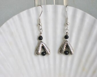 Silver and Black Hanging Earrings