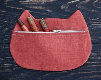Cat Cosmetic Bag Cat Lover Gift Linen Red Pencil Case Cats Bridesmaid Gift Makeup Bag Zipper Pouch Valentine's Day Gift Cat Pouch