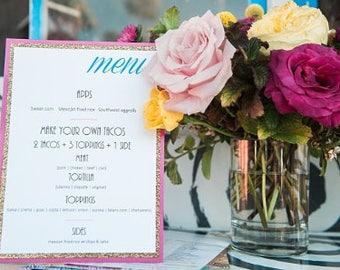 Hot Pink and Glitter Gold Modern Wedding Menus