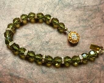 Green Rondelle crystal bracelet
