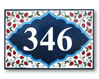 Address Numbers, House Number, Hand painted Tiles