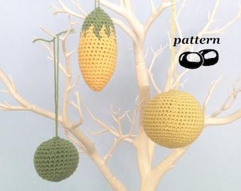 Crochet Ornament Patterns Autumn Fall Christmas Decorations Ornaments Crochet Pattern Modern Minimalist Sphere Ball Twig Tree