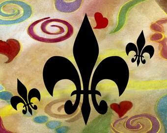Fleur de lis and hearts pillow case from my art