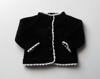 READY TO SHIP size 0-3 months Black Friday sweater black cardigan baby sweater baptism cardigan baby shower knitted jacket