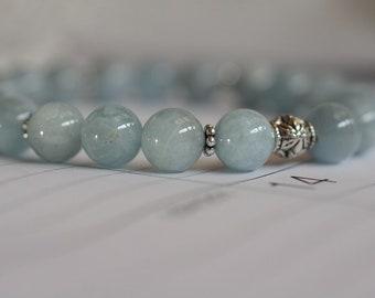 Aquamarine Bracelet, Chakra Bracelet,  Yoga Bracelet, Crystal Chakra, Wrist Mala Bracelet Genuine Aquamarine Bracelet