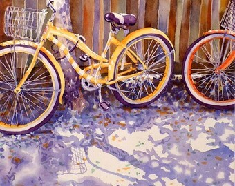 Bicycles, Bike Art Prints, Bikes Print Sale, Square print  Watercolor painting, Archival, Yellow print, Bicycle wall art, Balloon tires,