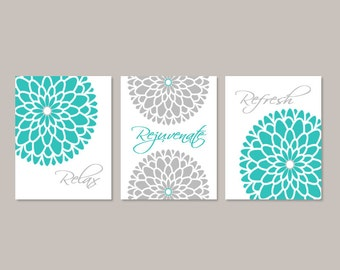Flower Wall Art Bathroom Wall Decor Prints Or Canvas Bathroom Wall Art Relax Rejuvenate Refresh Turquoise Grey Bathroom Pictures Set of 3