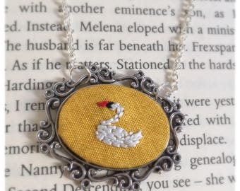 Embroidered swan necklace