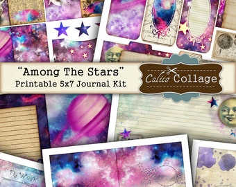 Among The Stars Printable Journal Kit, 5x7 Journal Pages, Galaxy Kit, Digital Journal Kit, Junk Journal, Scrapbooking, Decoupage Paper