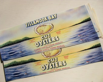 Vintage Tillamook Bay Cut Oysters labels. Set of five. Multiple sets available. Vintage labels. Advertising.