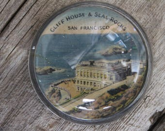 Antique Cliff House and Seal Rocks San Francisco Domed Glass Souvenir Paperweight