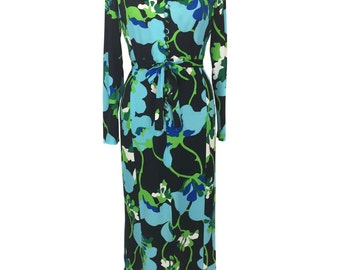 vintage 1970's floral maxi dress / polyester jersey / belted dress / bold graphic print / women's vintage dress / size medium