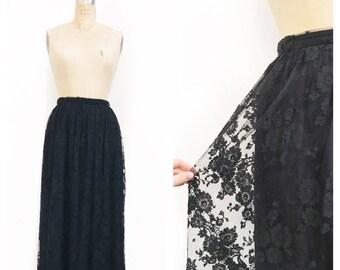 Black full lace midi skirt. Size S.