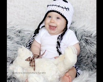 Ghost Earflap hat- Made to Order- Any size
