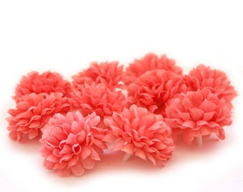 Coral Pom Pom Carnations - 25 count - Artificial Flowers, Silk Flowers