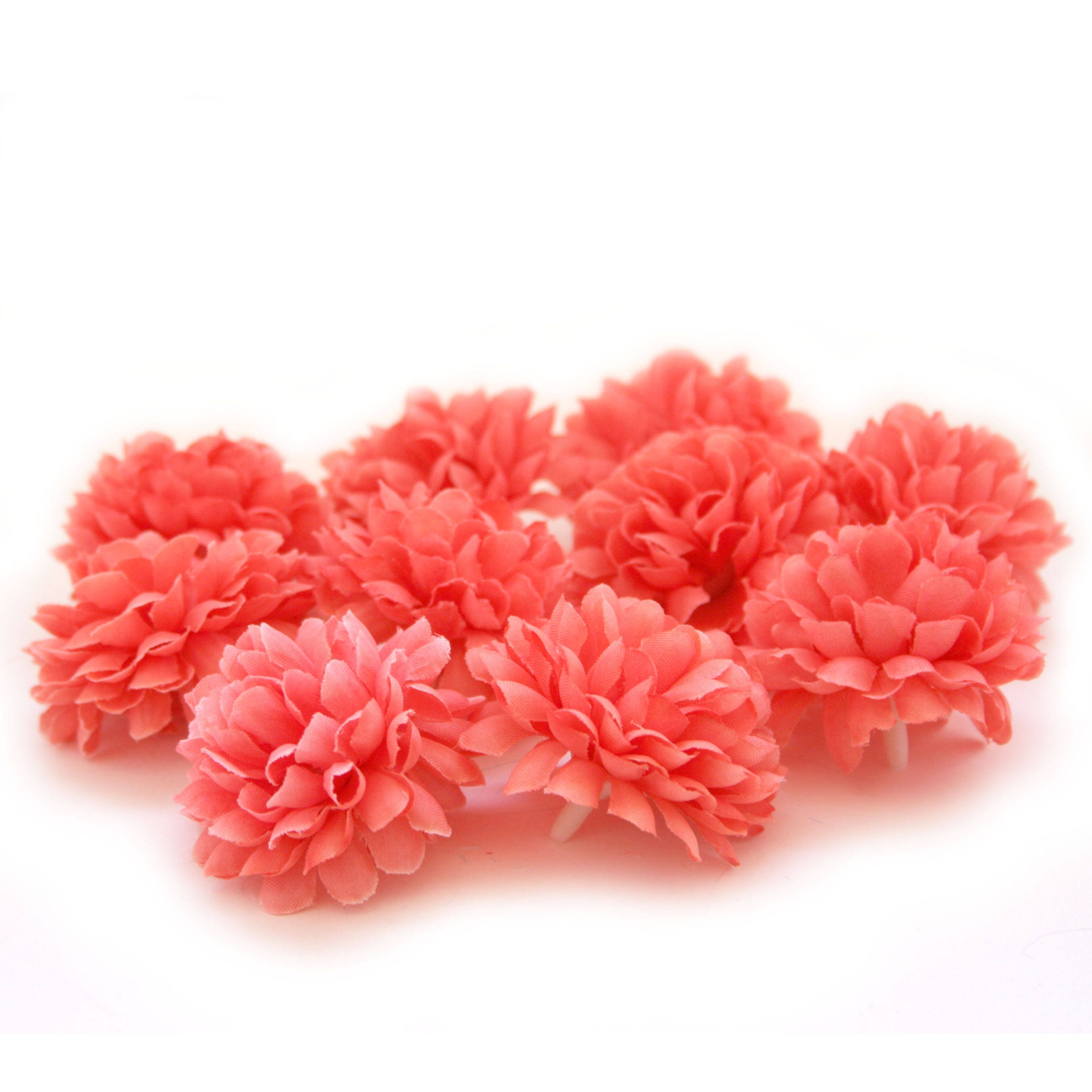 Coral Pom Pom Carnations - 25 count - Artificial Flowers, Silk ...