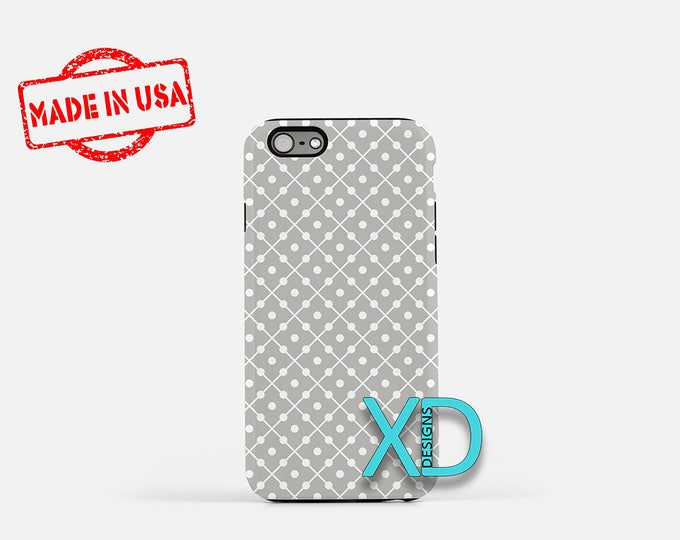 Dotted Line Phone Case, Dotted Line iPhone Case, Square iPhone 7 Case, Gray, Square iPhone 8 Case, Dotted Line Tough Case, Clear Case
