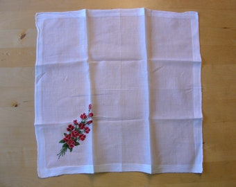Vintage white hanky with red rose embroidery